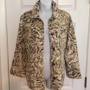 Chico's Jacket size 3 16 Light Camo Print Cotton